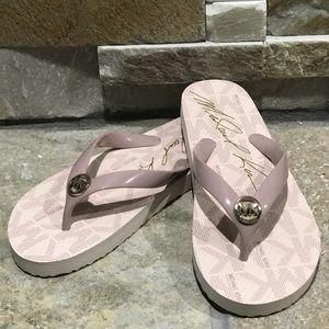 NEW, Michael Kors, blush & silver jelly flip flops